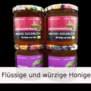 Flüssige und würzige Honige